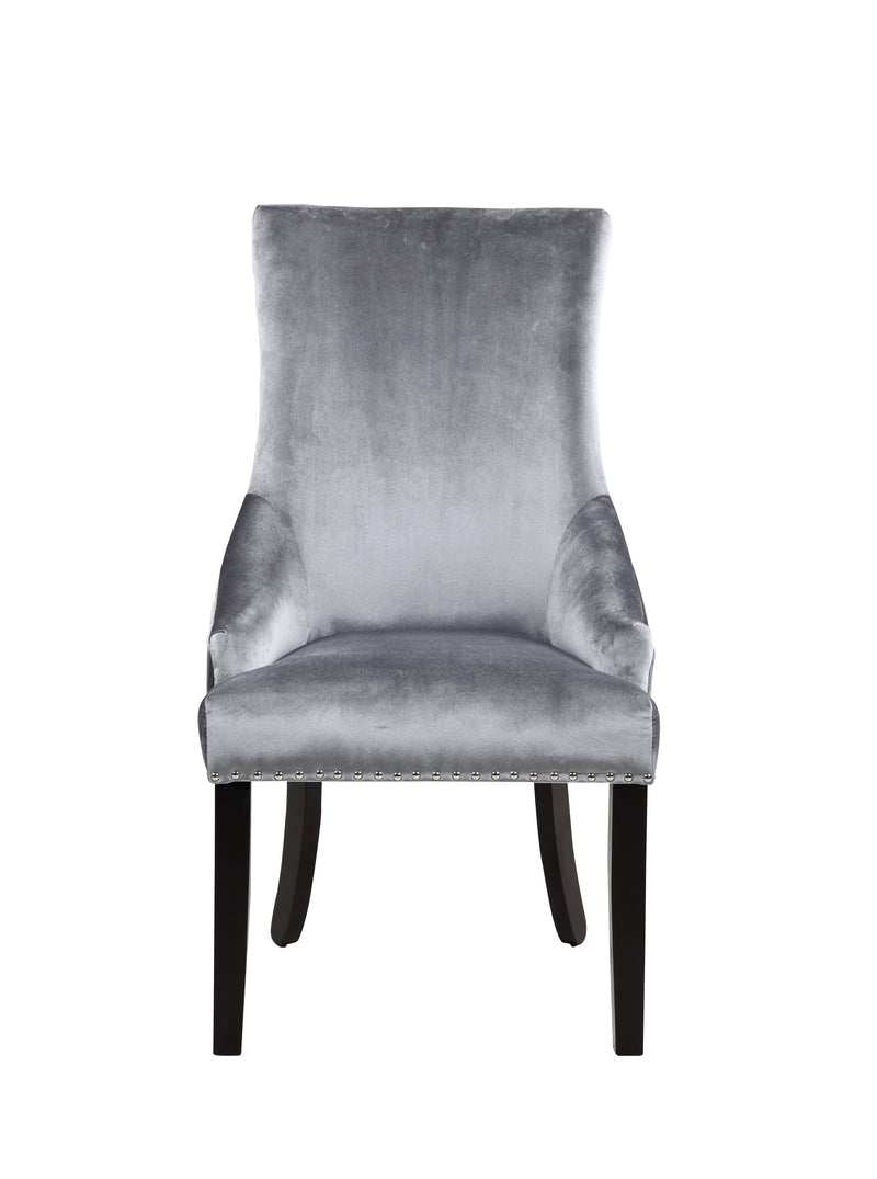 Iconic Home Machla Dining Chair Button Tufted Velvet Upholstered Nailhead Trim Wood Legs Grey