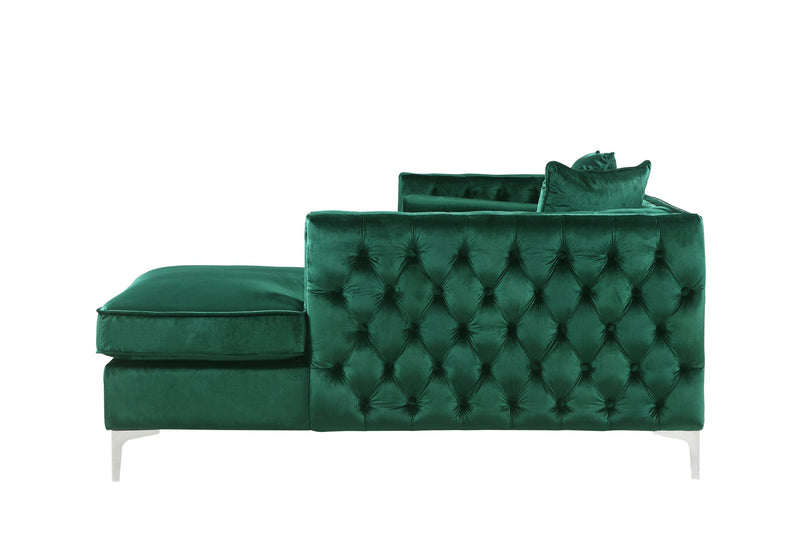 Iconic Home Da Vinci Button Tufted Velvet Right Facing Chaise Sectional Sofa Green
