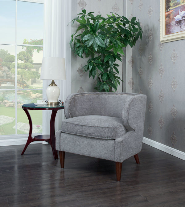 Iconic Home Vered Ymir Vlad Orlando Ezra Accent Club Chair Chenille Upholstered Nailhead Trim Wood Cone Legs Grey Main Image