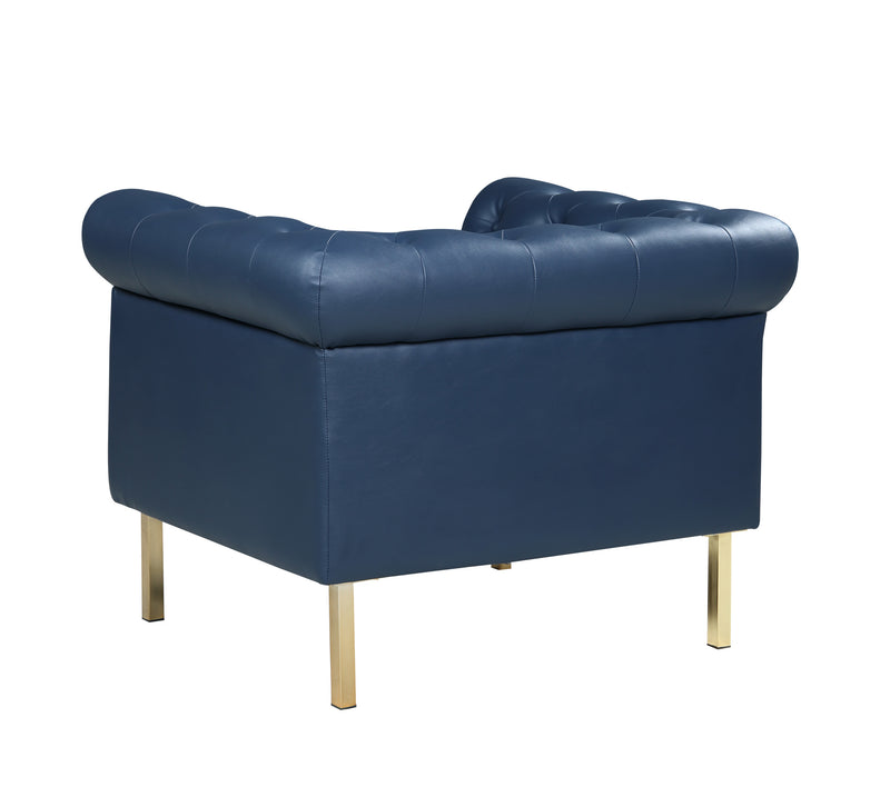 Iconic Home Giovanni Club Chair PU Leather Upholstered Button Tufted Gold Tone Metal Legs Navy