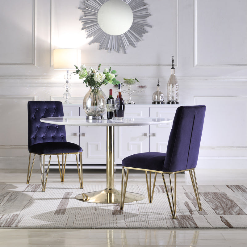 Iconic Home Callahan Pan Gaea Freya Maya Dining Chair Velvet Upholstered Solid Gold Tone Spindle Legs Navy (Set of 2) Main Image