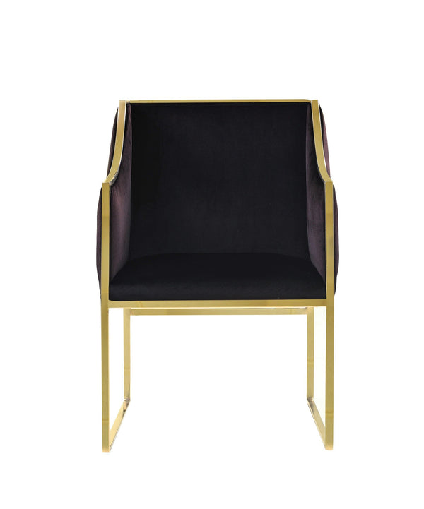 Iconic Home Rowan Accent Club Chair Velvet Upholstered Brass Finished Stainless Steel Frame Black