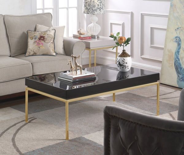 Iconic Home Alcee Alcinia Alcyone Alcestis Alcinda Center Coffee Table High Gloss Lacquer Top Gold Plated Solid Metal Legs Black Main Image