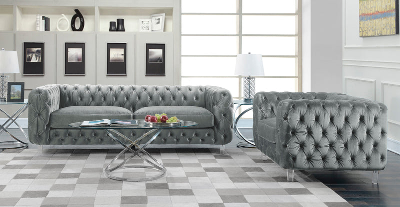 Iconic Home Syracus Tufted Velvet Plush Club Sofa Grey
