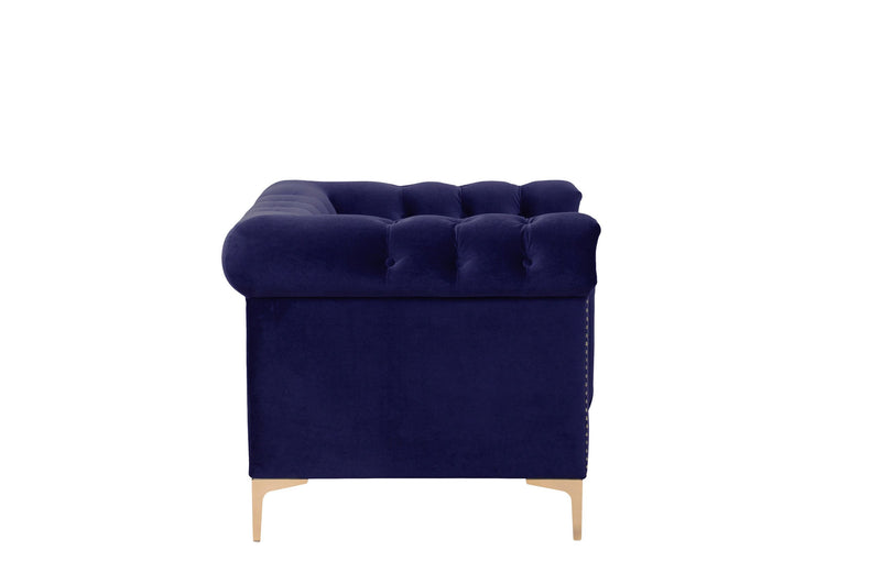 Iconic Home Bea Velvet Button Tufted Nailhead Trim Goldtone Metal Y-Legs Accent Club Chair Navy
