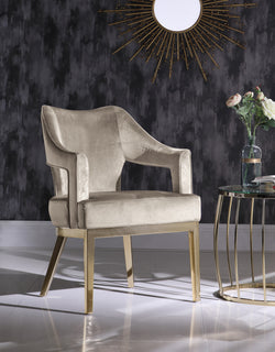 Iconic Home Gourdon Accent Chair Velvet Upholstered Taupe Lux And Mod