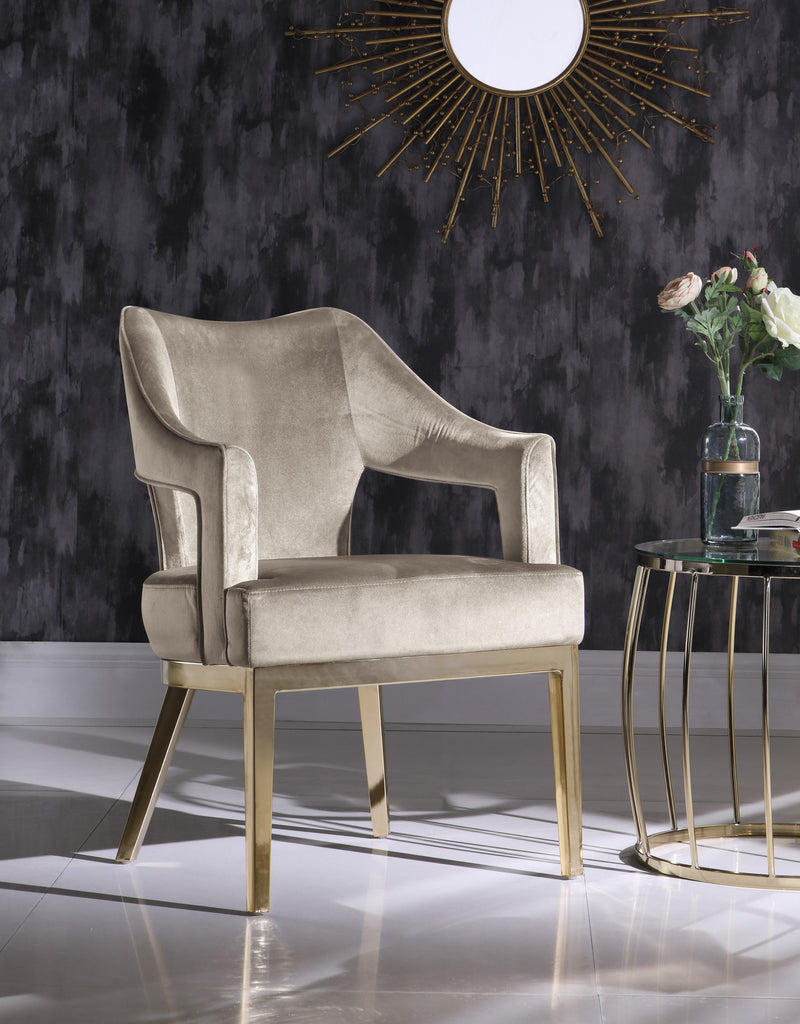 Iconic Home Gourdon Rangi Shri Danu Hebe Accent Chair Plush Velvet Upholstered Swoop Arm Gold Tone Solid Metal Legs Taupe Main Image