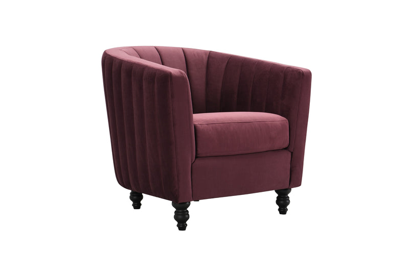 Iconic Home Riviera Accent Chair Velvet Upholstered Channel Quilted Turned Espresso Wood Legs Purple