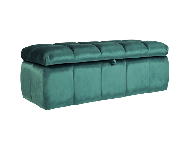 Iconic Home Chagit Storage Ottoman Sleek Tufted Velvet Upholstered Bench Blue