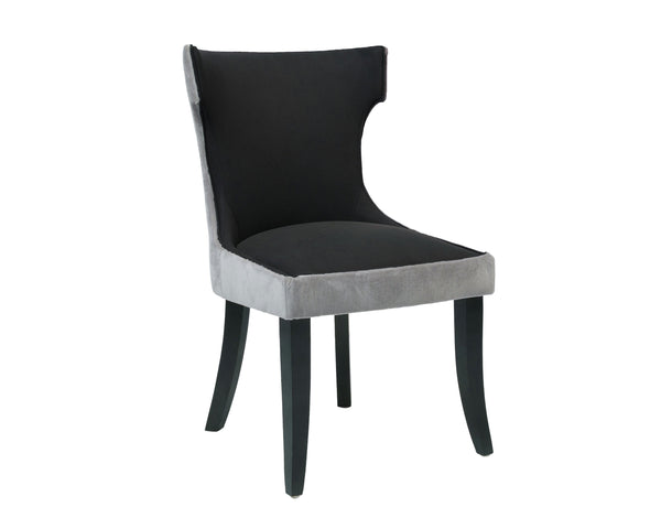 Iconic Home Conrad Velvet PU Leather Espresso Wood Frame Dining Side Chair Grey/Black (Set of 2)