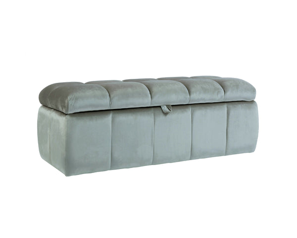 Iconic Home Chagit Storage Ottoman Sleek Tufted Velvet Upholstered Bench Grey