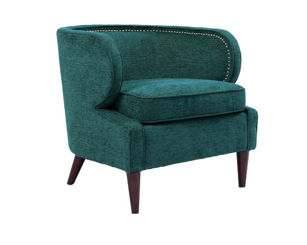 Iconic Home Vered Accent Club Chair Chenille Upholstered Nailhead Trim Wood Legs Teal