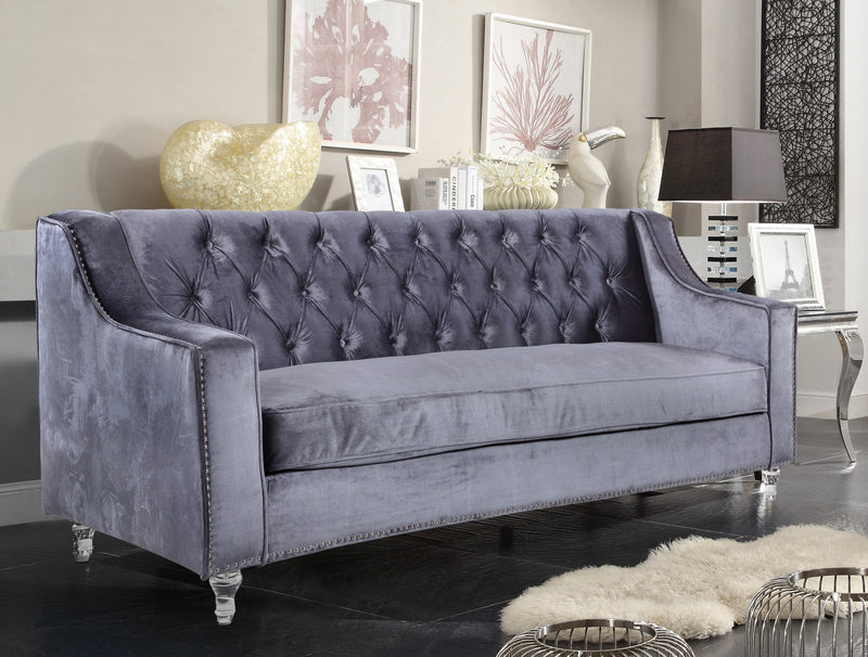 Iconic Home Dylan Presley Stewart Berry Dale Velvet Button Tufted Sofa Grey Main Image