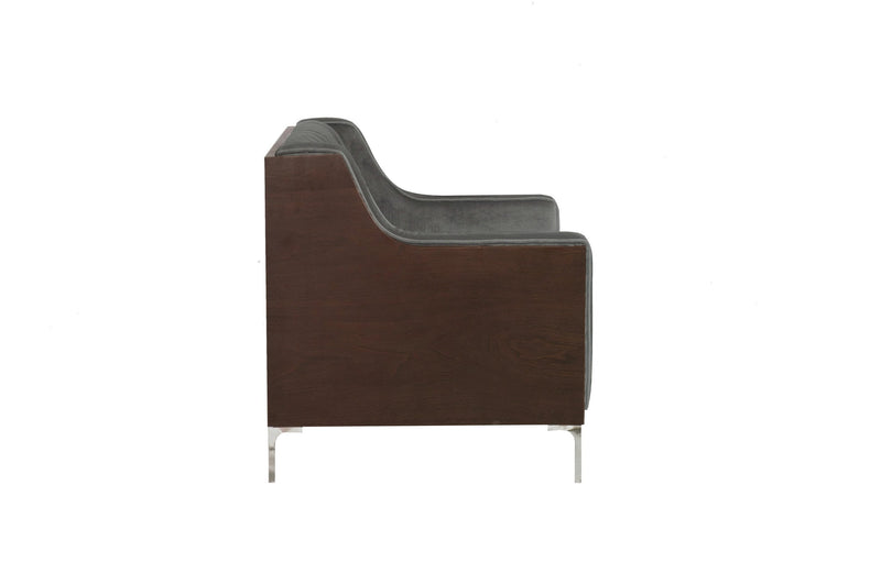 Iconic Home Clark Club Chair Button Tufted Velvet Walnut Finish Swoop Arm Wood Frame Metal Legs Grey