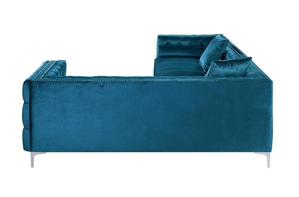 Iconic Home Mozart Right Facing Sectional Sofa Velvet Button Tufted Nailhead Trim Metal Y-Leg Teal