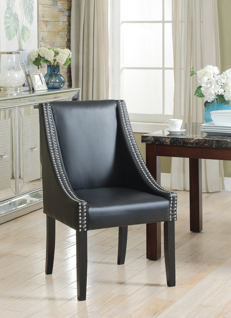 Iconic Home Lincoln Washington Jefferson Hayes Taft Dining Side Chair PU Leather Upholstery Nailhead Trim Wood Legs Black (Set of 2) Main Image
