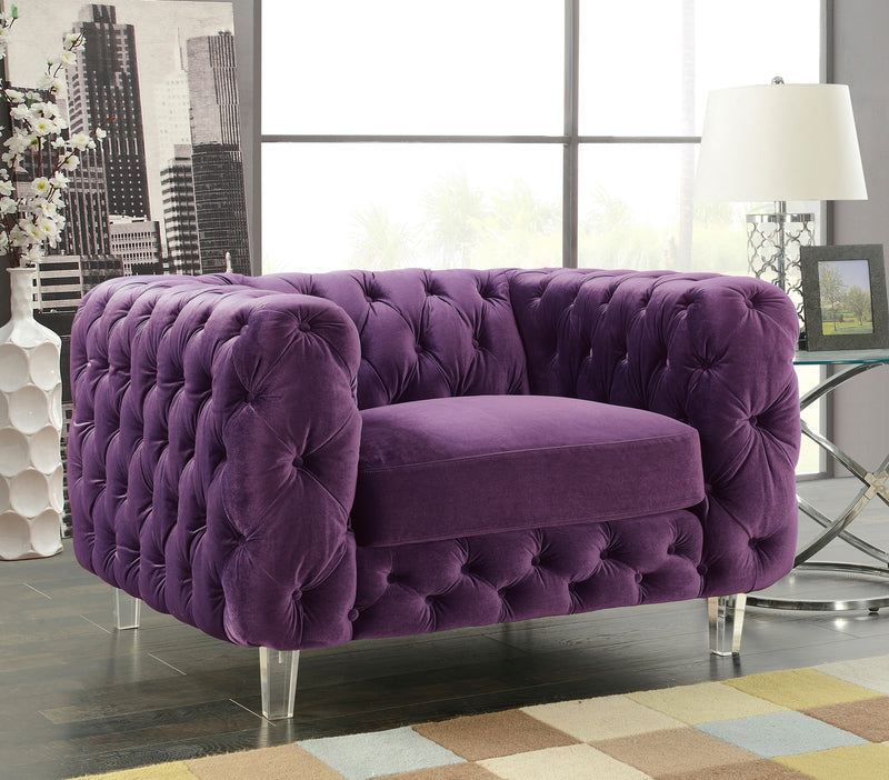 Iconic Home Syracus Castor Phobos Apollo Morgan Tufted Velvet Plush Accent Club Chair Purple Main Image