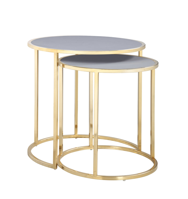 Iconic Home Tuscany Nesting Table 2 Piece PU Leather Top Gibbous Moon Gold Solid Metal Frame Grey
