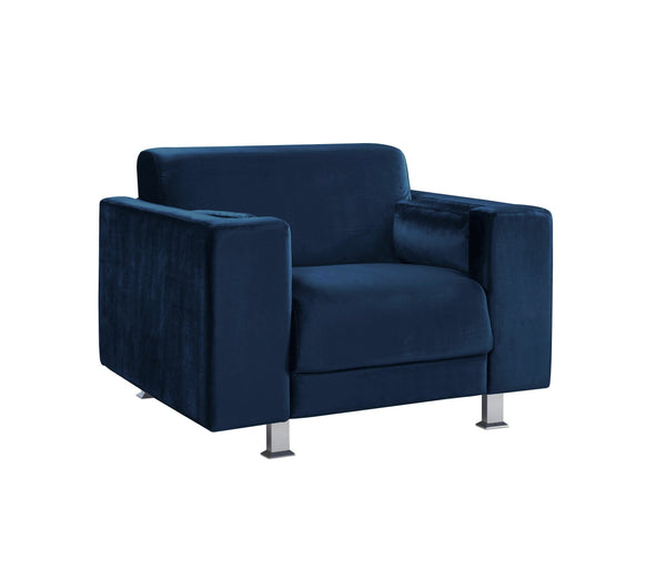 Iconic Home Amarillo Sleek Velvet Plush Accent Club Chair Navy