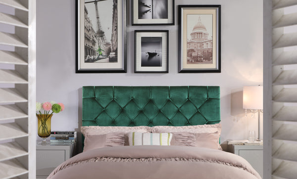 Iconic Home Rivka Ajax Clytia Emer Helena Headboard Velvet Upholstered Diamond Button Tufted Green Main Image