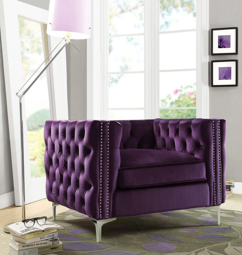 Iconic Home Da Vinci Michelangelo Picasso Monet Bosch Button Tufted Velvet Upholstered Nail Head Trim Accent Club Chair Purple Main Image
