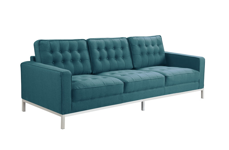 Iconic Home Draper Sofa Three Seat Linen Upholstered Button Tufted Silvertone Metal Legs Blue