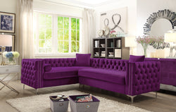Iconic Home Mozart Weston Astrid Susan Howard Left Facing Sectional Sofa Velvet Button Tufted Nailhead Trim Metal Y-Leg Plum Main Image