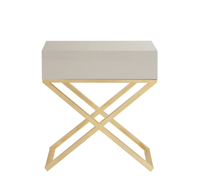 Iconic Home Ithaca Nightstand Side Table Self Closing Drawer Brass Finished Metal X Frame Beige