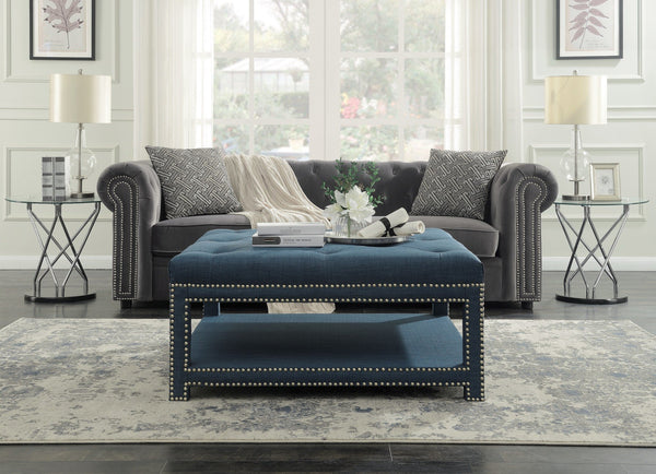 Iconic Home Bina Dara Quinn Micah Tallis Coffee Table Ottoman Linen Upholstered Nailhead Trim 2 Layer Bench Blue Main Image