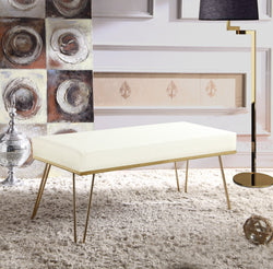 Iconic Home Aldo Aldrych Aldon Aldelfo Aldan Bench PU Leather Upholstered Brass Finished Metal Frame Hairpin Legs Cream Main Image