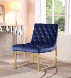 Iconic Home Moriah Esfir Katya Tatiana Sarina Accent Chair Button Tufted Velvet Upholstered Brass Finished Metal Frame Navy Main Image