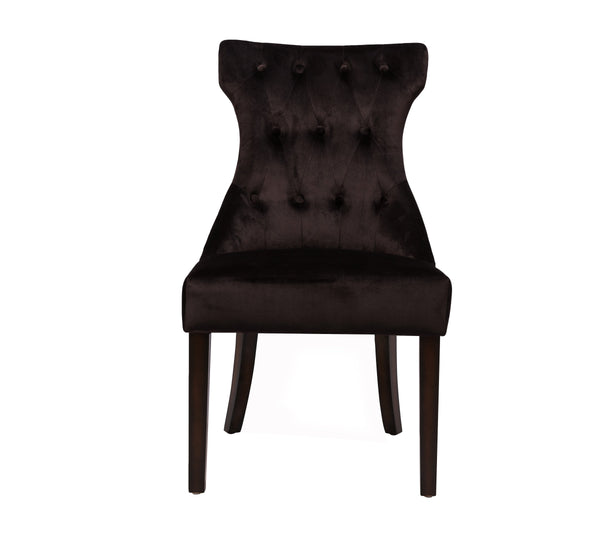 Iconic Home Dickens Dining Side Chair Button Tufted Velvet Espresso Wood Legs Black (Set of 2)