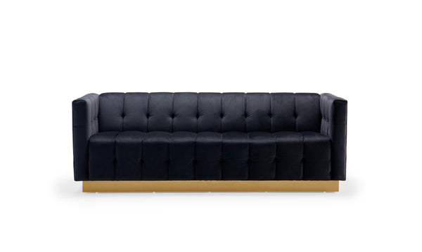 Iconic Home Primavera Sofa Button Tufted Velvet Upholstered Gold Tone Metal Base Black