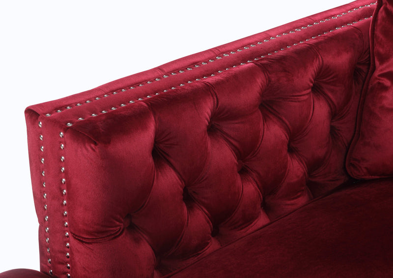 Iconic Home Da Vinci Button Tufted Velvet Right Facing Chaise Sectional Sofa Red