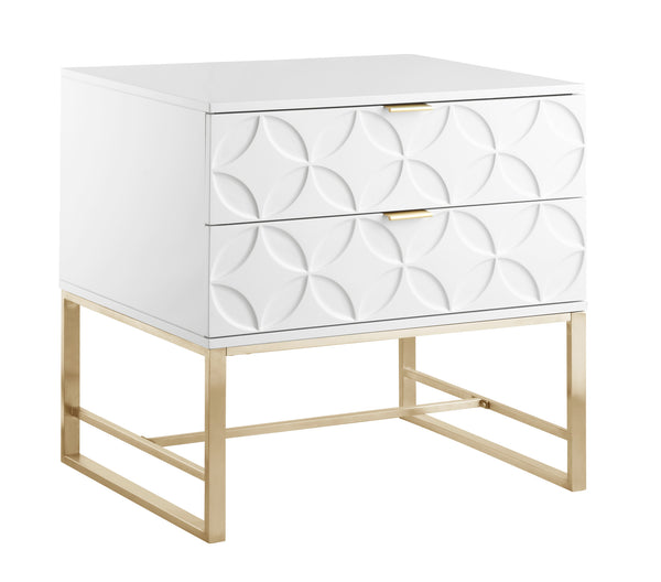 Iconic Home Mantau Side Table Nightstand Lacquer Finish Solid Gold Tone Metal Frame White