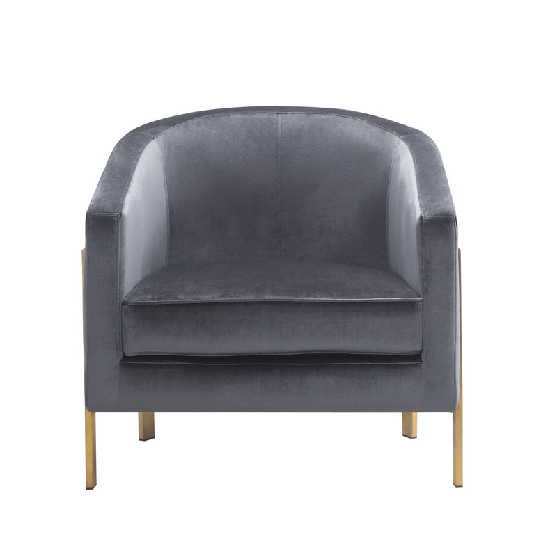 Iconic Home Monte Accent Club Chair Velvet Cushion Seat Brushed Brass Stainless Steel Frame Grey