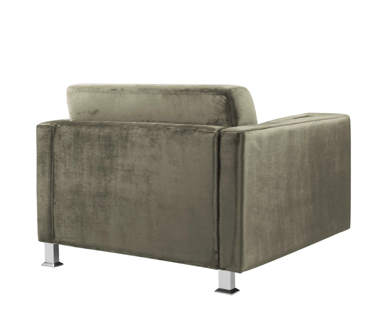 Iconic Home Amarillo Sleek Velvet Plush Accent Club Chair Taupe
