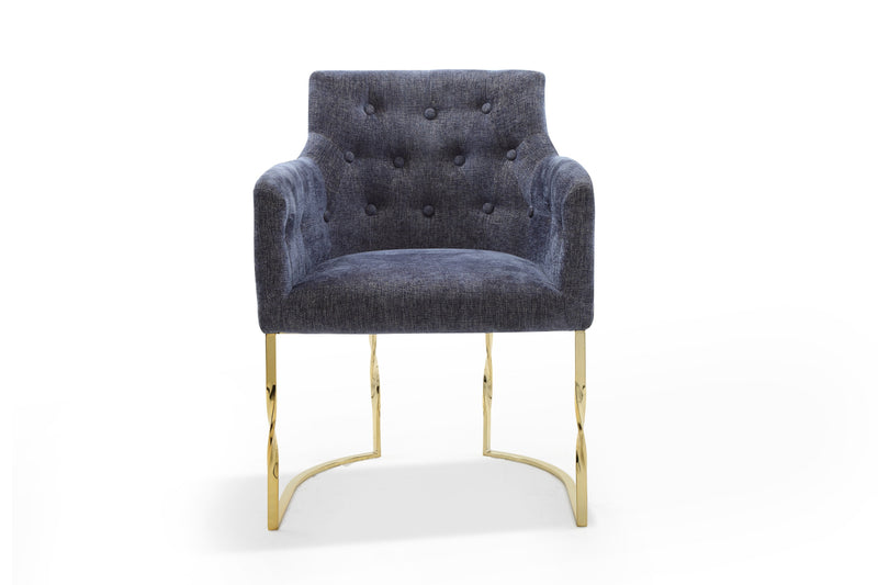 Iconic Home Amalfi Accent Chair Button Tufted Linen Upholstered Gold Tone Solid Metal Frame Blue