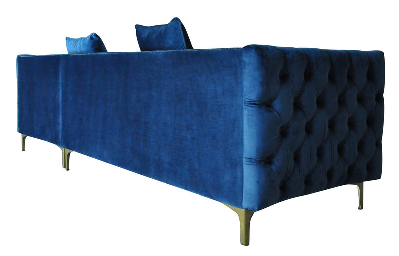 Iconic Home Da Vinci Button Tufted Velvet Right Facing Chaise Sectional Sofa Navy