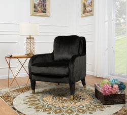 Iconic Home Tzivia Ayala Gila Milka Nurit Accent Club Chair Sleek Velvet Upholstered Plush Cushion Brass Tip Legs Black Main Image