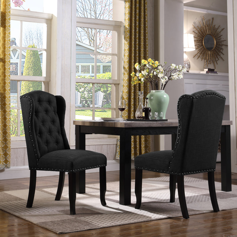 Iconic Home Shira Kammen Scheindlin Viola Nayman Wingback Dining Chair Faux Linen Upholstered Nailhead Trim Wood Legs Black (Set of 2) Main Image