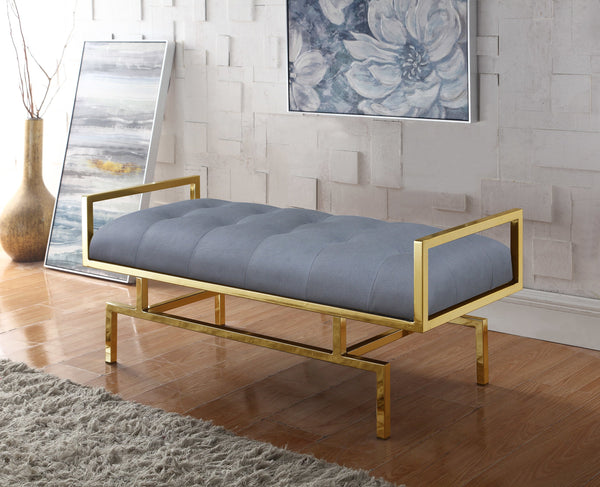 Iconic Home Bruno Bill Melinda Katharine Adele Bench Gold Tone Architectural Frame Tufted PU Leather Upholstered Ottoman Grey Main Image