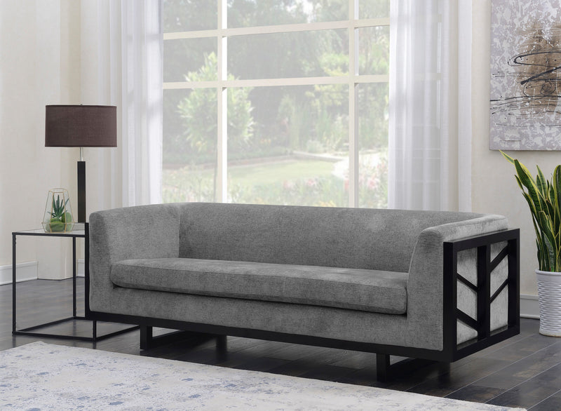 Iconic Home Arianna Miley Genevieve Mabel Shannon Linen Textured Espresso Frame Sofa Grey Main Image