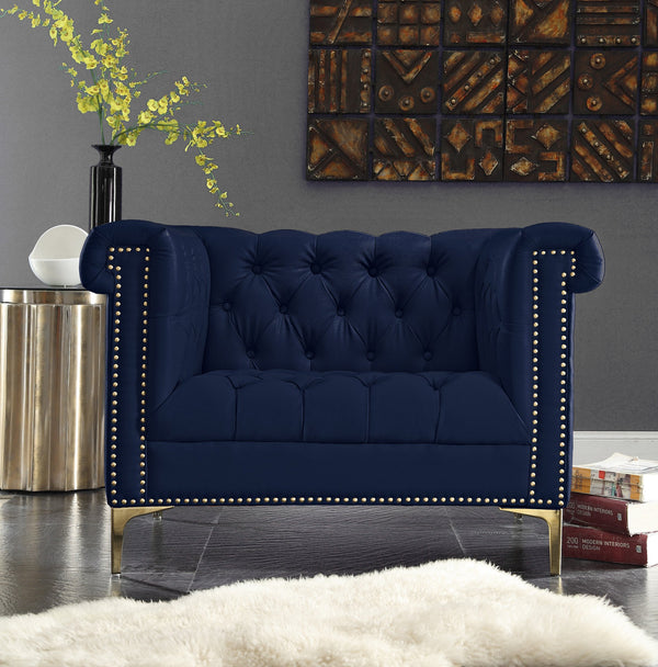 Iconic Home Winston Dwight MacArthur Patton Custer PU Leather Button Tufted Accent Club Chair Navy Main Image