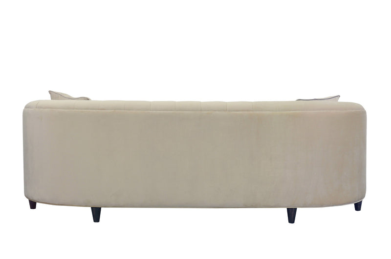 Iconic Home Leeba Club Sofa Velvet Button Tufted Espresso Wood Legs Sofa Champagne
