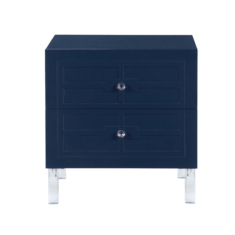 Iconic Home Naples Side Table Nightstand 2 Self Closing Drawers Lacquer Finish Acrylic Legs Navy