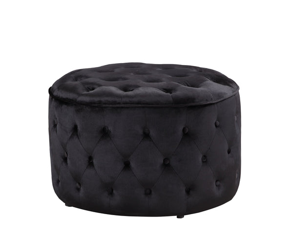 Iconic Home Batya Ottoman Button Tufted Velvet Upholstered Round Pouf Black