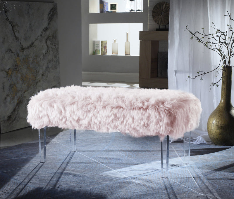 Iconic Home Trento Matteo Alessandro Samuel Diego Faux Fur Bench Acrylic Legs Ottoman Pink Main Image