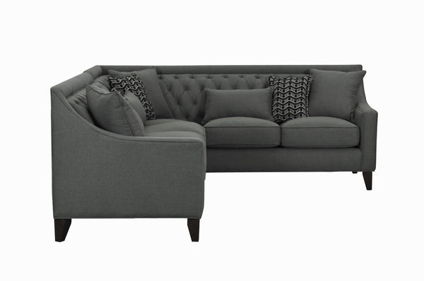 Iconic Home Aberdeen Linen Tufted Right Facing Sectional Sofa Grey