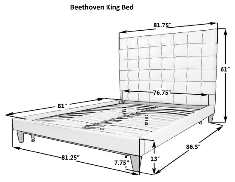 Iconic Home Beethoven Bed Frame with Headboard Tufted Velvet Upholstered Tapered Birch Legs Grey